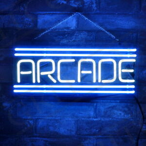 "14""x7""ARCADE Neon Sign Light Shop Open Wall Hanging Man Cave Nightlight Artwork"