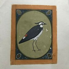 OLD ANTIQUE MUGHAL STYLE MINIATURE PAINTING OF bird STONE COLORS ON PAPER