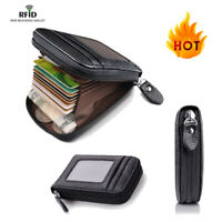 Men's Leather Credit Card Wallet Holder RFID Blocking Zipper Thin Pocket HA