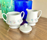 Vintage Dynasty Fine China Rapture Creamer With  Handle And Sugar Bowl With Lid