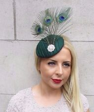 Dark Bottle Green Silver Peacock Feather Fascinator Pillbox Races Hat Vtg 3178
