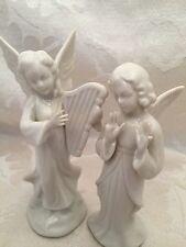 """Dresden Angel Figurine Harp Vintage Made In Germany 5"""" Set Lot Of 2 Damage"""