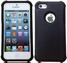 Solide Solid Black Shockproof Dual Layer Hybrid Back Case Cover for iPhone 4 4S