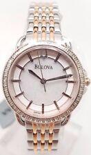 Bulova Diamond Ladies MOP Two Tone Bracelet Dress Quartz Watch 98R144