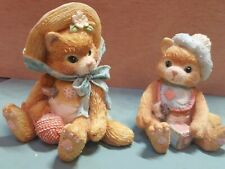 """Two Enesco - Calico Kittens - """"I'm All Fur You"""" and """"A Bundle of Love"""""""