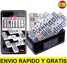 Juego de domino doble 12 de colores 91 fichas caja metal dominoes