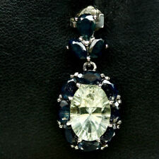 NATURAL GREEN AMETHYST & BLUE SAPPHIRE PENDANT 925 STERLING SILVER