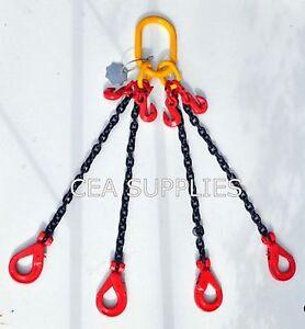 8mm 4 Leg Lifting Chain Sling 4M  4.25 ton Self Locking Hook & Shortner ID TAG