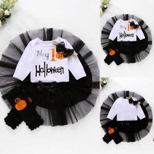 Newborn Baby Girls My 1st Halloween Tutu Dress + Romper + Headband Outfit Set
