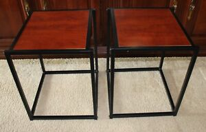 """Pair of 18"""" Tall,  Speaker Stand Table Chair Sofa Side Night Stand Cherry Color"""