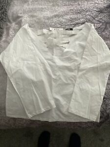 White Womans Top Low Cross Front Bnwt Size Small