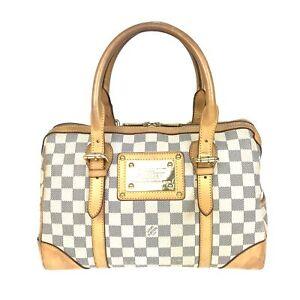 100% Authentic Louis Vuitton Damier Azur Berkeley Handbag N52001 Used {08-0039}