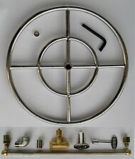 """18"""" SS FIRE PIT DOUBLE RING BURNER KIT FOR NATURAL GAS Fire Glass Fire Shapes"""