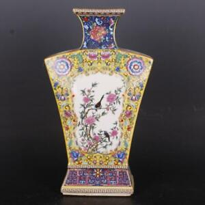 "12.8"" China Colour Enamels Porcelain Flowers and Birds All Sides Flat Fan Vase"