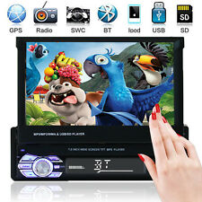 "Car Stereo MP5 MP3 Player 7"" Flip Up Bluetooth Touch AM FM Radio Single DIN USB"