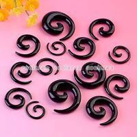 Pick Gauge Punk Black Acrylic Spiral Taper Ear Plugs Expander Stretcher Pair