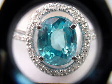 INTENSE GREENISH BLUE NATURAL ZIRCON 4.71 CTS with DIAMONDS 14K WHITE GOLD RING