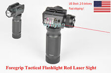 US Vertical Foregrip CREE LED Flashlight&Red Laser Sight 20mm Rail For Rifle Gun