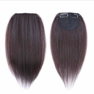 25 cm Human Hair Mini Topper Toupee Bangs Clip Hairpiece Top Wig For Women Men