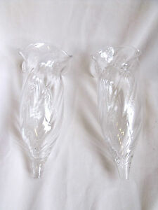 PAIR ROUND CUT CRYSTAL FRILLY GLASS FLUTE / HORN / TRUMPET VASE FOR EPERGNE
