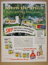 1950 Sherwin-Williams Paint mid-century ranch house illustration art vintage Ad