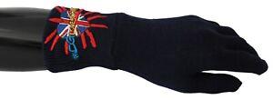 DOLCE & GABBANA Gloves Wool Blue #DGLovesLondon Embroidered Mitten RRP $400