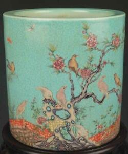Superb Antique Chinese Famille Rose Enameled Porcelain Brush Pot.