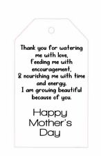 10 White Gift Tags Mothers day Personalised Thank you Gold Foil