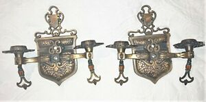 Pair of Antique Early 1900's BRONZE WALL SCONCE LIGHTS ARTS & CRAFTS ERA