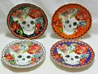222 Fifth Marbella Skull Halloween Porcelain Appetizer Plates Set of Four New