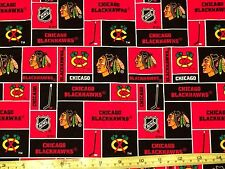 NHL CHICAGO BLACKHAWKS Hockey Stick Puck Patch Fabric Cotton Official by Yard