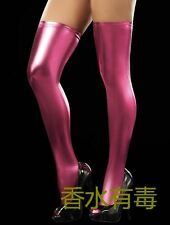 Fetish Sexy Pink-Red Party Stockings Hold Ups Wet Look Faux Leather / PVC Shiny