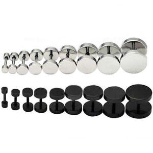 2pc Cool Punk Black Stainless Steel Ear Stud Men/Womens Piercing Earrings