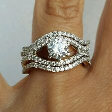 1.75 C Womans 3 piec 14k yellow gold Round Engagement Wedding 2 band Ring Set S8
