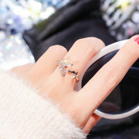 Silver/Rose Gold Butterfly Shape Adjustable Opening Zircon Ring Wedding Jewelry