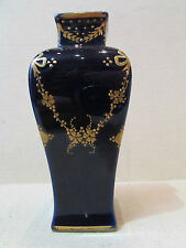 ancien vase porcelaine limoges bleu doré guirlandes ruban fleurs 1930 st LXVI