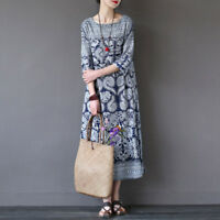 Vintage Women Boho 3/4 Sleeve Loose Floral Print Cotton linen Maxi Long Dress