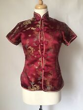 Vintage Pure Silk Dark Red Chinese Jacket Top Fitted Short Sleeve Size 8 10