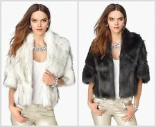 NWT $248 Juicy Couture Faux Fox Fur Shrug in CARBON GREY sz M/L Sold Out Rare
