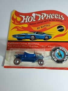 Original 1967 Hot Wheels Hot Heap Redline Royal Blue Still on Card NEW