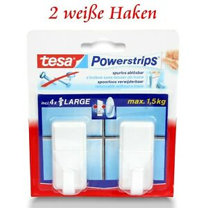 tesa Powerstrips® Haken -1 Pack = 2 Klebehaken - Selbstklebend o. Bohren weiß