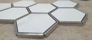 Hexagonal Silver & White Aluminium Porcelain Mosaic Tile 1 sheet 220x 380 x 8mm