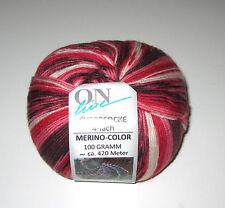 100 gram ball of RED Multi ON LINE SUPERSOCKE MERINO COLOR sock knitting yarn