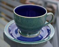 Denby Harlequin England Handcrafted Mug Plate Set Cup Saucer Green Blue Speckled
