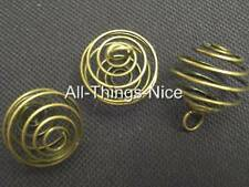 28mm Pendant Bead Spiral Wire BRONZE CAGES Jewellery Making Findings Joblot 20