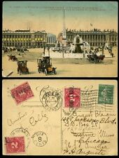 POSTAGE DUE 1922 USA...FRANCE PPC PLACE de CONCORDE REDIRECTED MOLINE CHICAGO