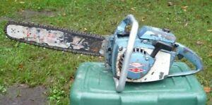 """Blue HOMELITE XL-12 Chainsaw w/ 16"""" BAR & Chain RUNS Great"""