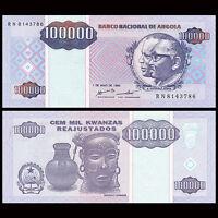 Angola 100000 100,000 Kwanzas Banknote, 1995, P-139, UNC, Africa Paper Money