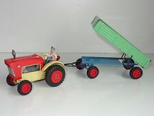 (V) GAMA West Germany FORD TRACTOR AND TRAILER tinplate motor