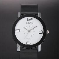 Classic Men Quartz Dial Leather Watch Stainless Steel Analog Casual Wrist Watch